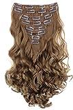 PRETTYSHOP XL Set 7 piezas de 60cm clip en las extensiones del pelo cabeza completa Hairpiece ondulado o recto Heat-Resistir Div. Colores