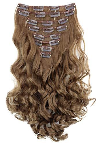PRETTYSHOP XXL 35cm 8 Teile Set CLIP IN EXTENSIONS Haarverlängerung Haarteil Voluminös Gewellt Hellbraun CES105-1