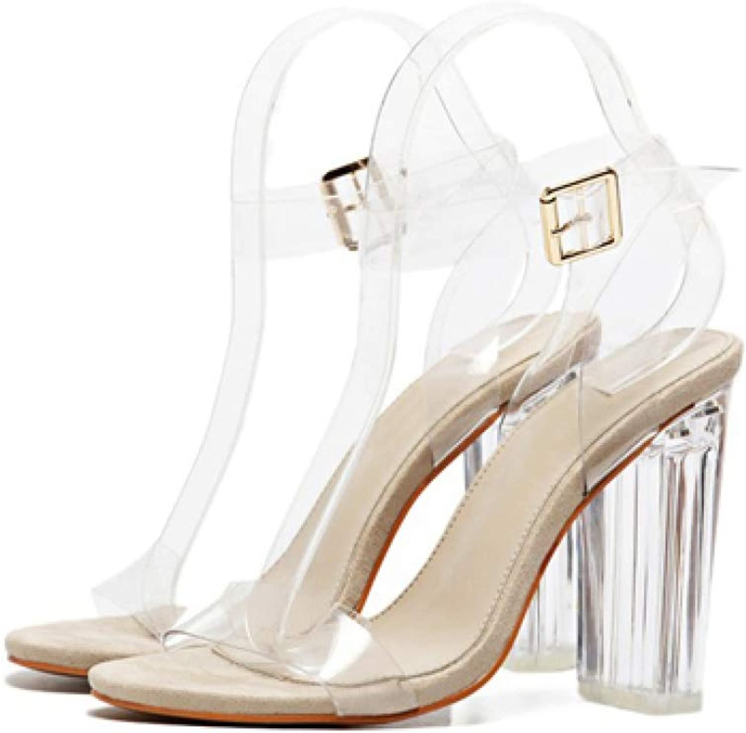 PVC Women Ankle Strap High Heels shoes Sexy Sandals T-Strap Clear Transparent Gladiator Sandals