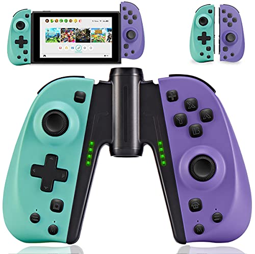 FUNLAB Switch Joycon Controller Replacement for Nintendo Joy-Con,Pair Joy Con Controllers with Grip,Macro Button/Turbo/Vibration/Motion Functions(Turquoise/Purple)