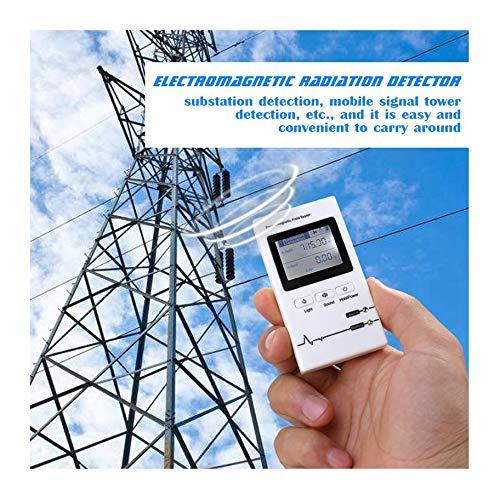 SYXZ Professioneller tragbarer elektromagnetischer Strahlungsdetektor, tragbares EMF-Messgerät, Strahlungstester,Weiß