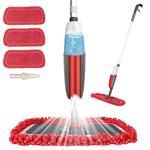 Aiglam Mocio con Spruzzatore, Spray Mop in Microfibra Orientabile a 360 Gradi per Pavimento e Finestra con 2 Cuscinetti Riutilizzabili e Spazzolone per Legno Duro, Marmo, Laminato, Piastrelle (Rot)
