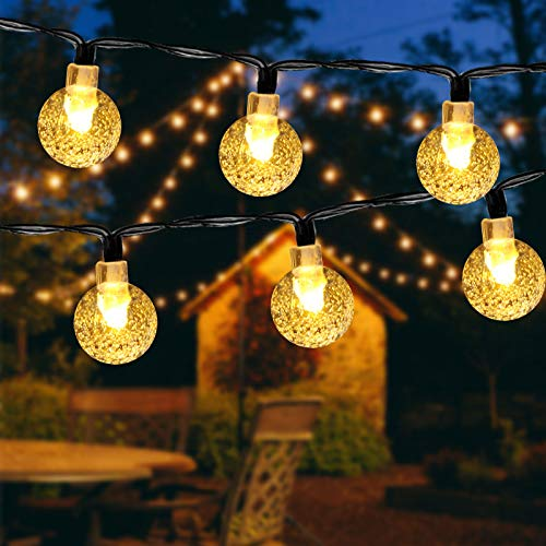 ECOWHO Solar Fairy Lights Outdoor, 26Ft 40 LEDs Crystal String Lights 8 Modes with Memory IP65 Waterproof Globe Garden Lights for Fence, Patio,Yard, Christmas Tree, Wedding Decorations(Warm White)