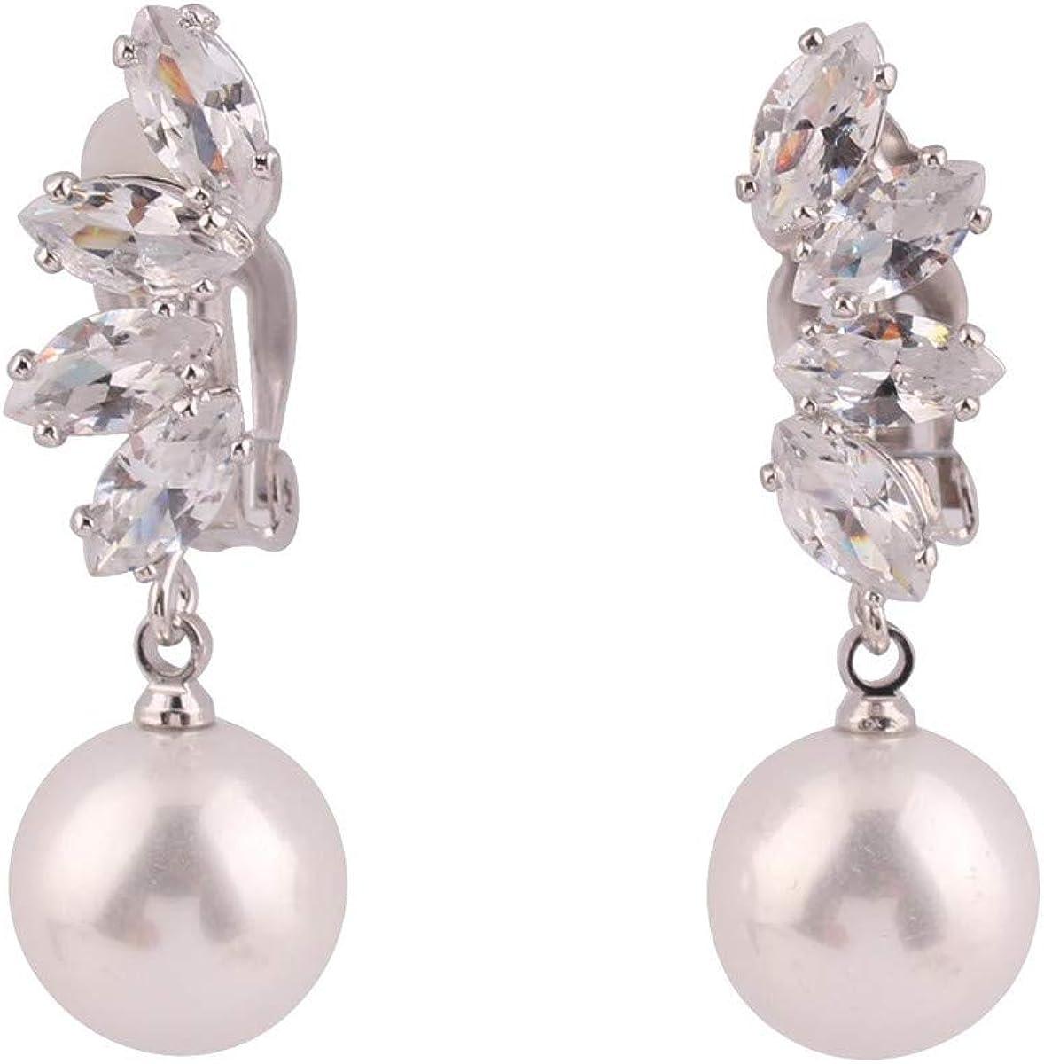 HAPPYAN High-grade Copper AAA Cubic Zircon Pearl Clip on Earrings No Pierced for Women Party Wedding Senstive ears hypoallergenic Clip-ons