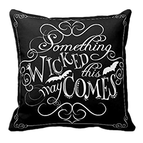 Stickit Graphix Halloween Wicked Chalkboard Pillow Cover Decorations Throw Pillow Cover Cushion Pillow Case Set for Halloween Sofa Bench Bed Home Decor 18'x18' (1PC Black)
