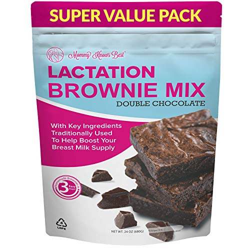 Lactation Brownie Mix Breastfeeding Supplement - Double Chocolate Breast Milk Support Snack Alternative to Lactation Cookies to Boost Breastmilk Supply Increase - 24 Ounces