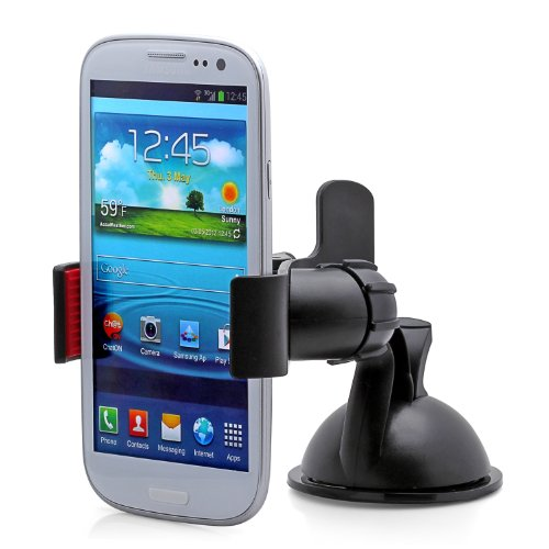 Aduro GRIP CLIP Universal Dashboard Windshield Car Mount for Smart Phones, Apple iPhone 5 / 5S / 5C / 4 / 4S / 3G, Samsung Galaxy S2 / S3 / S4, Galaxy NOTE 2, Motorola Droid RAZR / MAXX, HTC EVO 4G, HTC One X, LG Revolution, GPS Holder (Black)