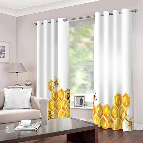 meilishop 3D Printing Blackout Curtains Honey Blackout Curtains Design Bedroom Living Room Dual Use Mold Resistant Antibacterial Easy Clean 230(H) x140(W) Cmx2 Panels/set