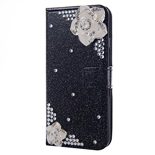 WANYINGLIN Bling Rose Diamond für Samsung S21 Plus,Girl Leather Hülle Flip Kickstand Magnet Book Purse with Colorful Glitter Leder Card Slot Holder Wallet