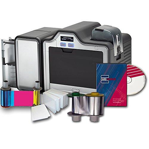 New Fargo HDP5000 Dual Side w/Mag Encoder ID Card Printer & Supplies Bundle with Card Imaging Softwa...