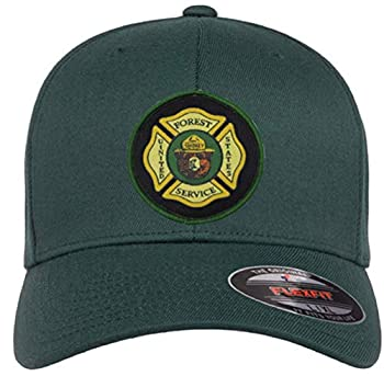 """U.S Forest Service & Smokey The Bear Mens & Womens Green Fitted Flexfit Hat with Smokey & Forest Service Woven Patch  Green L/XL  7 1/8"""" - 7 5/8"""""""