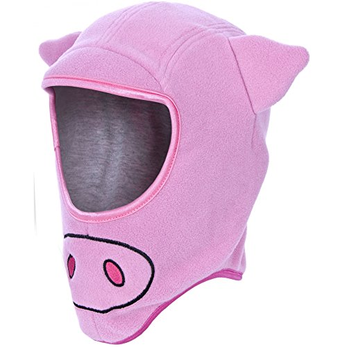 Trespass - Gorro Estilo pasamontañas con diseño de Cerdo para niños (8-10 años) (Rosa)