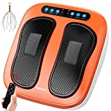 HOILTAL Foot Massager Machine with Remote Control, Adjustable Vibration Speed Electric Foot Massager, Shiatsu Deep Kneading Foot, Leg,Calf and Back Massager Device Increased Blood Circulation (Orange)