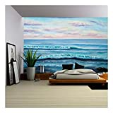 wall26 - Original Oil Painting Showing Ocean or Sea,Shore or Beach on Canvas - Removable Wall Mural | Self-Adhesive Large Wallpaper - 66x96 inches