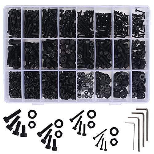 HO2NLE 1225pcs Tornillos Allen Negros, Juego de Tornillos y Tuercas M2 M3 M4 M5 Tornillos de Cabeza Redonda de Hueca Hexagonal de Acero Inoxidable con Llaves y Caja de Almacenamiento para Maquinaria