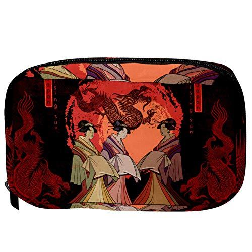 Bolsas de Maquillaje Estuche multifunción para Organizador de Bolsas de cosméticos de Viaje portátil Geisha y Dragon Red Sun con Neceser con Cremallera para Mujer