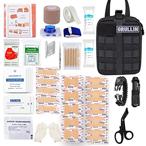 GRULLIN Kit di Controllo del sanguinamento di Pronto Soccorso EMT tattico di Emergenza, Custodia Militare Molle a sgancio rapido con Trauma Shear, Stecca, Bende per ferite, equipaggiamento