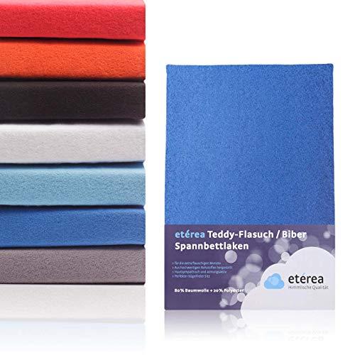 #7 Etérea Teddy Flausch Kinder-Spannbettlaken, Spannbetttuch, Bettlaken, 18 Farben, 60x120 cm - 70x140 cm, Blau