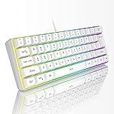 Mini 60% Gaming Keyboard, RGB Backlit 61 Key Ultra-Compact Keyboard, MageGee TS91 Ergonomic Waterproof Mechanical Feeling Office Computer Keyboard for PC, MAC, PS4, Xbox ONE Gamer(White)