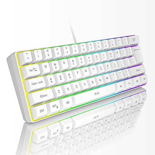 MageGee TS91 Mini 60% de juegos/teclado de oficina, impermeable tipo teclado RGB retroiluminado compacto para Windows/Mac/portátil (blanco)