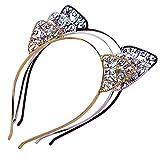 AWAYTR 3PC - Crystal Cat Ears Hair Hoop Headband for Women Girls Cats Ears Hairband Headwear Hair Accessories Christmas Gift (Floral)