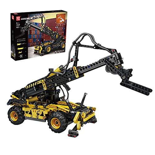 Sungvool Technik Teleskoplader Baukasten, Gabelstapler Pneumatischer Teleskoplader für 8+ Kinder und Erwachsene Kompatibel mit Lego Technik (803 Stück)