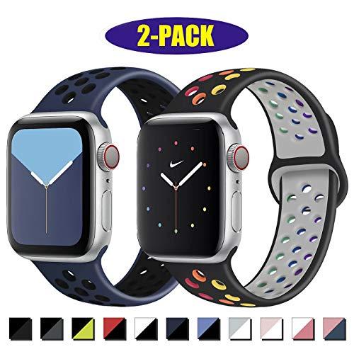 INZAKI Kompatibel mit Apple Watch Armband 42mm 44mm,weich atmungsaktives Silikon Sport Ersatzband für Armband für iWatch Serie 5/4/3/2/1,Nike+,Sport,wasserdicht,S/M,B-Pride/Blueblack