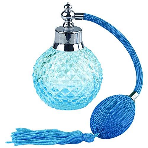 Vococal Vococal® 100ml leere glas parfum sprühflasche - nachfüllbar quasten langes röhre vintage oval parfümzerstäuber parfum zerstäuber blau