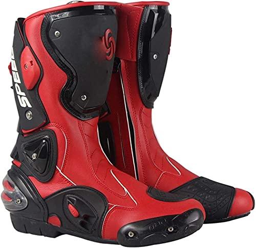 FGDFGDG Botas de Motocross Fabricadas en Cuero, Botas de Moto para Hombre Impermeables con ventilación Ajustable, Botas de Moto Botas Cruzadas Botas Deportivas de Carreras con Protectores