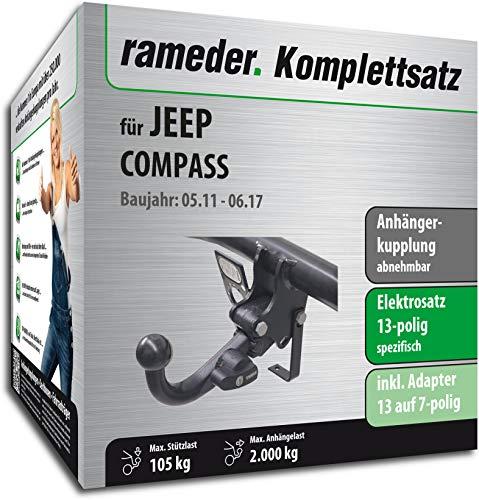 Rameder Komplettsatz, Anhängerkupplung abnehmbar + 13pol Elektrik für Jeep Compass (114282-05605-3)