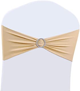 100PCS Wedding Chair Decorations Stretch Chair Bows and Sashes for Party Ceremony Reception Banquet Spandex Chair Covers slipcovers (100, Champagne)