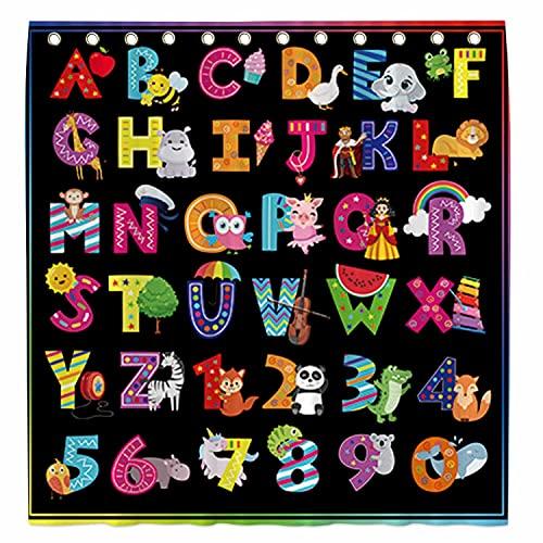 Allenjoy Duschvorhang, 183 x 182,9 cm, Alphabet-Muster, für Badezimmer, Set, ABC, Tier, bunt, lustige Lehrwörter, Heim-Badewannen-Dekorationen, langlebig, wasserdicht, maschinenwaschbar, mit 12 Haken