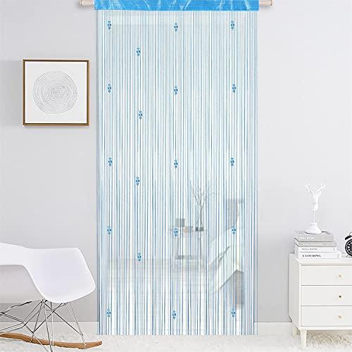 AIZESI 1 cortina de puerta con borlas, cristal, 100 x 200 cm, cortina con purpurina, divisores de habitación, puertas, cortina, cortina, cortina, cortina para colgar, cortina de división azul cielo