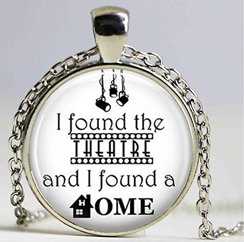 Found the Theatre and I Found a Home Quote Pendant Necklace Cabochon Vintage Bronze Statement Necklace For Women/Men (2)