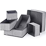 Anayra Drawer Organiser Divider Set of 6 - Foldable Storage Bins for Socks, Tie, Shirts - Collapsible Drawer Organisers for Home / Office, wardrobe Closet Organizers