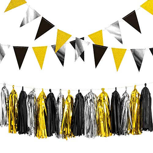 Whaline Graduation Decorations, Triangle Flag Black Silver Gold Glitter Paper Bunting Banner 26 Pcs, Tissue Paper Tassels Garland 15 Pcs for Graduation Party Wedding Birthday Baby Shower Decoration