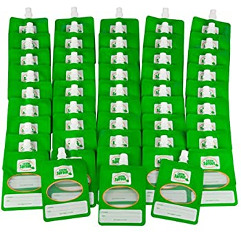 Disposable 6oz Baby Food Storage Pouch Containers 48 Pack- Write What You Want Squeezable Pouches- Make Homemade Organic Food for Babies/Toddlers- Works with Most Filling Stations Including Infantino