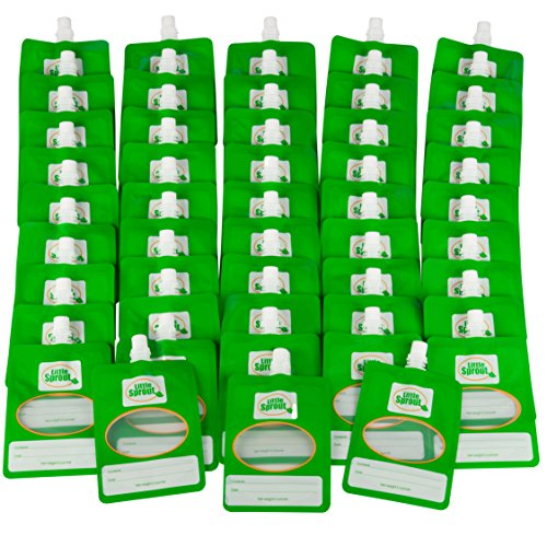 Disposable 6oz Baby Food Storage Pouch Containers, 48 Pack- Write What You Want Squeezable Pouches- Make Homemade Organic Food for Babies/Toddlers- Works with Most Filling Stations Including Infantino
