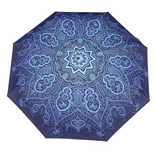 Paraguas de viaje a casa impermeable a prueba de viento manual/automático compacto plegable reversa lluvia uso al aire libre, White (Blanco) - Xuanwuyi6328