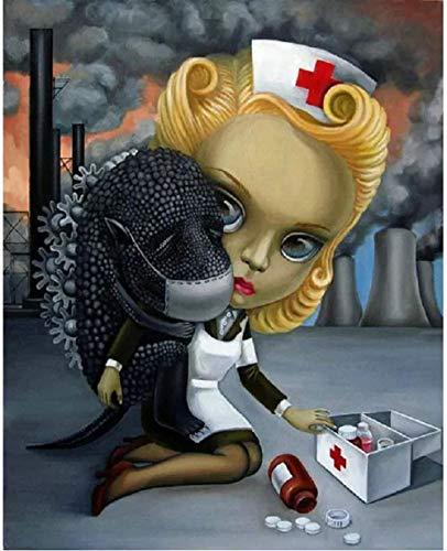 5D diamante mosaico pintura enfermera y perro Anime DIY diamante pintura punto de cruz pintura completa arte Mural30*40cm/40 * 50cm