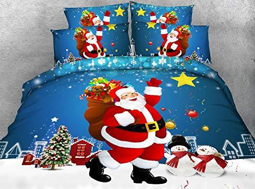 332 Santa Claus Design Polyester Christmas Duvet Cover and Pillowcase Set, Style-8, 200x200cm
