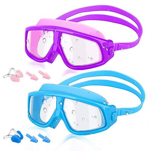 HeySplash [2PZS Universal Gafas de Natación para Niños, Anti-Niebla Gafas de Robustas Lentes PC con Protección UV en Marco Grande para Niños de 5 a 16 Años - Púrpura y Azul