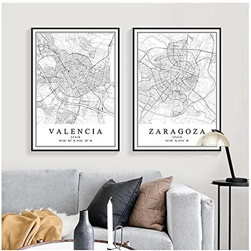 Mapa de la Ciudad de España Barcelona Madrid Málaga Sevilla Valencia Carteles Pinturas en Lienzo Arte de la Pared Impresiones decoración del hogar -50x70cmx2pcs -sin Marco