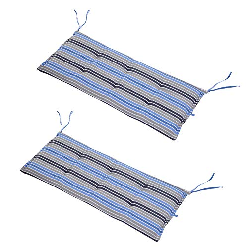 Outsunny Set of 2 Outdoor Garden Patio 2-3 Seater Bench Swing Chair Cushion Seat Pad Mat Replacement 120L x 50W x 5T cm - Blue Stripes