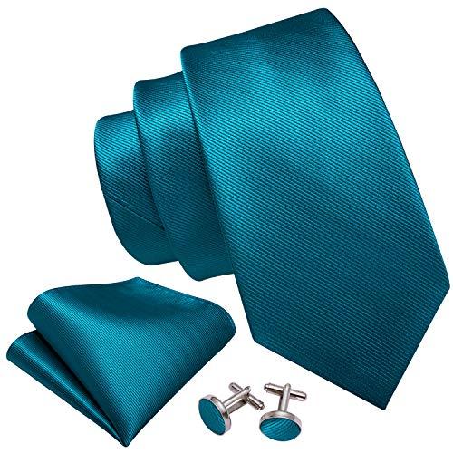 Barry.Wang - Juego de corbatas para hombre, color liso, pañ