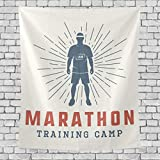 DJNGN Vintage Marathon Run Logo Tapiz de Dormitorio Vertical Colgante de Pared Decoración Multiusos Tapices Tapices para Sala de Estar, Sala de Estudio, Entrada y Cocina. 60x51 Pulgadas