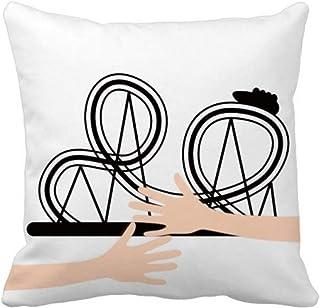 Funda cuadrada de almohada negra con diseño de parque de atracciones