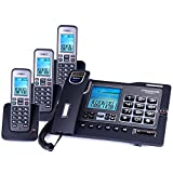 Telephone, Wired Fixed Landline and Cordless Machine Combination, Free Intercom, Three-Way Calling, One-on-one Office(Black) ZSMPY (Color : C)