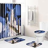Claean-Acces-Home Juego Alfombras Baño Azul Alfombra De La Toalla De La Toalla De La Toalla del Baño del Baño Antideslizante De Cuatro Piezas del Baño del Gato-Mo18_45 * 75Cm + 180 * 180