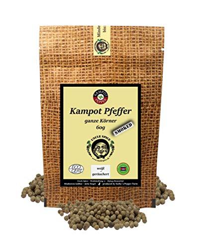 Uncle Spice geräucherter Kampot Pfeffer - 60g echter Kampot Rauchpfeffer - Premiumqualität - ganze sonnengetrocknete Pfefferbeeren, weißer Pfeffer, handverlesen für die Mühle, Ideal zum BBQ